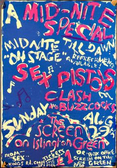 Sex Pistols Screen On The Green Cinema Gig Poster (London, August 29th 1976)