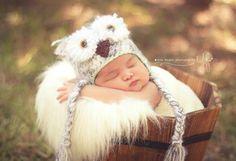 Snowy Owl Hat Baby Owl Hat Crochet Owl Hat by CozyCuteCrochet