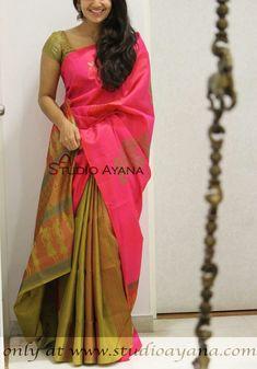 The Largest Online Indian ethnic wear store for women - Sarees, Salwar Suits. Bridal Silk Saree, Soft Silk Sarees, Saree Color Combinations, Pattu Saree Blouse Designs, Silk Saree Kanchipuram, Simple Sarees, Sari Dress, Saree Trends, Fancy Blouse Designs
