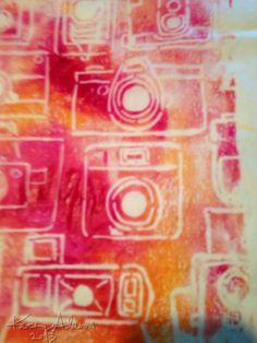 Gelli print using camera stencil.