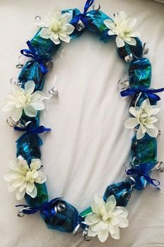 Blue Candy Lei with White Flowers by LindsaysLeis on Etsy