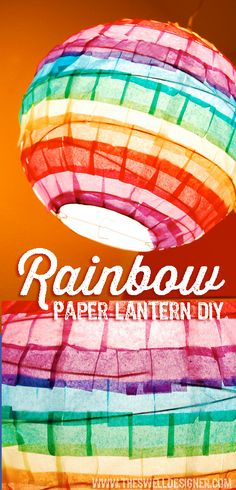 so easy using Tissue paper squares from ! Diy Paper, Tissue Paper, Lantern Diy, Rainbow Paper, Graduation Ideas, Paper Lanterns, Squares, Diy Projects, Easy