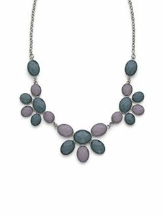 Ombre Grey Floral Necklace $28
