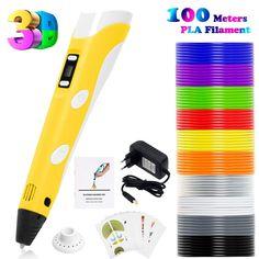 PLUSINNO DIY Scribbler Impresora 3D Pen con Pantalla LCD para 3D Scribbler impresión, Dibujo y Doodling + 13 filamento PLA (10 Colores Diferentes) + 10 Modelos de Papel para práctica UE (Amarillo): Amazon.es: Juguetes y juegos 3d, Templates, Printers, Impressionism, Yellow, Toys, Games, Paper Envelopes, Dibujo