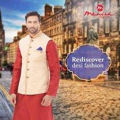 In the midst of your corporate and modern looks, rediscover your desi style with our great design and mastery in ethnic wear for men.  #ManishCreations #DesiFashion #IndianWear #Ethnic #Style #Traditional