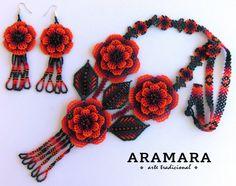 Collar mexicana Huichol flor de collar y pendientes conjunto Arte Popular, Darwin, Beadwork, Jewerly, Elsa, Diana, Handmade Jewelry, Patterns, Create