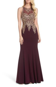 Xscape Xscape Embroidered Mermaid Gown available at #Nordstrom