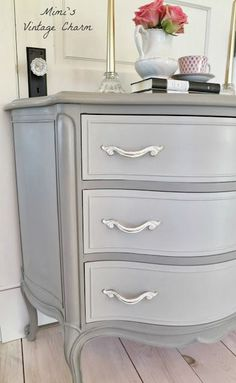 Ann Sloans French Linen color (drawers mixed with French Linen and White and pulls are white but distressed)