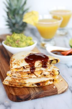 Hawaiian BBQ Quesadillas with Pineapple-Mango Guacamole | halfbakedharvest.com