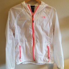 The north face Women's the north face windbreaker jacket in white with pink in large. Very good condition The North Face Jackets & Coats