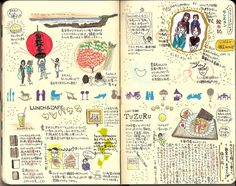 Takashi Betsui's method of writing and drawing a blog in a notebook and then scanning the pages into an online blog. http://sync-ideas.net/