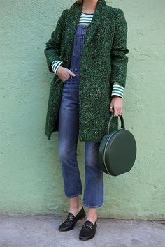 Green stripes and green tweed // Click through for full outfit details!