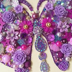 Beautiful purple pink and lilac button art butterfly Mixed Media art