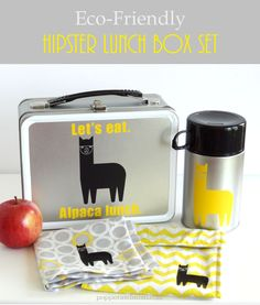 Eco-Friendly Alpaca Lunch Box Set made with Cricut Explore -- Popper & Mimi. #DesignSpaceStar Round 2