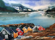 Grønland - fjord Painting Process, Pictures To Paint, Places Ive Been, Vibrant Colors, Watercolor, Landscape, Nature, Inspiration, Beauty