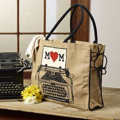 """Dear Mom"" Typewriter Burlap Tote Burlap Tote, Dear Mom, Burlap Crafts, Typewriter, Reusable Tote Bags"