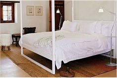 white linear bed
