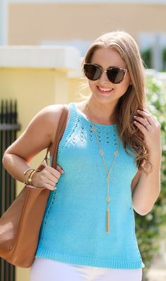 Lilly Pulitzer Mac Sweater Tank  | Socialite Pink Caitlin Endless Pendant | Quay Australia My Girl Sunglasses | Click through to see the full casual summer outfit by Ashley Brooke at ashleybrookenicholas.com