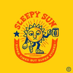 SUNday SUN No. 195 by Tad Carpenter Retro Illustration, Character Illustration, Graphic Design Illustration, Graphic Art, Vintage Graphic Design, Branding Design, Logo Design, Badges, Badge Design