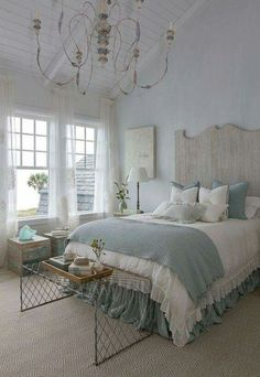A little too fussy, but the color combo is great. Duck egg blue and natural creamy white linen.