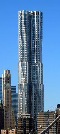 76-story skyscraper designed by architect Frank Gehry in the New York City borough of Manhattan at 8 Spruce Street in Lower Manhattan, just south of City Hall Plaza and the Brooklyn Bridge.  12th tallest residential tower in the world