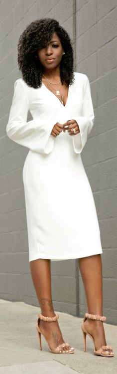 White Bell Sleeves  Midi Dress / Fashion By Style Pantry  .
