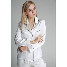 22 Momme Full Length Silk Pajamas Set with Trimming