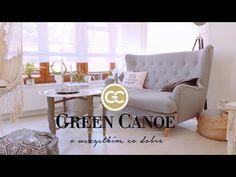 Kontrasty i harmonia - GREEN CANOE NA KAWIE U... - Styl boho i styl skandynawski - YouTube Canoe, Accent Chairs, Armchair, Boho, Green, Youtube, Furniture, Home Decor, Upholstered Chairs