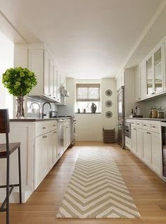 Love this gally kitchen. the long countertop can be transformed into a buffet when needed and it's wide enough to have a few people in there talking to you while you cook