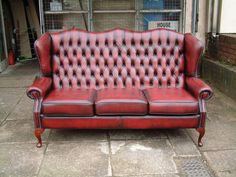 oxblood chesterfield three seater sofa   eBay