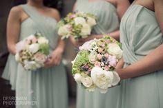 Celadon green bridesmaid dresses.
