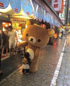 Rilakkuma - A chance meeting. Rilakkuma, Cute Stuffed Animals, Cute Animals, Kawai Japan, Really Funny Pictures, Kawaii Plush, Line Friends, Kawaii Shop, Books For Teens