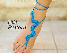 EASY CROCHET PATTERN butterfly barefoot sandals di ZhaviPattern