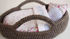 Crochet | Dolls Bed Moses Basket and bedding set / vintage fabrics / crochet | Oh Susanna Handmade | madeit.com.au