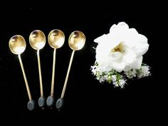 4 coffee bean spoons silver gilt hallmarked 1923 by Taingtiques