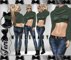 ✿ ¸. • * ¨ * • ☆JUST OUT OF PEER!☆ ¸. • * ¨* • ✿  ✮ MERCENARY JEANS BUNDLE: http://www.imvu.com/shop/product.php?products_id=32083022  * Comes with sweater, jeans, and boots with socks.  ✿My Full Catty: http://www.imvu.com/shop/web_search.php…  ✿SellingBeauty Catty: http://www.imvu.com/shop/web_search.php…  ✿☆ ¸. • * ¨ * • ☆JUST OUT OF PEER! ¸. • * ¨* • ☆✿None
