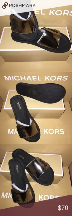 NEW NICKEL MIRROR METALLIC MK SLIDE - SIZE 8.0 M NEW IN BOX.  MICHAEL KORS MIRROR METALLIC NICKEL (COLOR) SLIDES WITH BLACK MK LOGO.  NICE COLOR.  THANKS FOR VIEWING AND SHARING MY CLOSET. MICHAEL Michael Kors Shoes