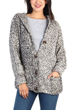 Feather Look Hoodie Cardigan - Black / White