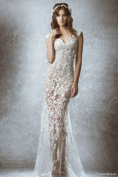 zuhair murad bridal fall 2015 wedding dress sleeveless sweetheart neckline lace floral embroidered sheer gown style marcia