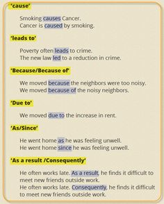 Linking Words and Phrases in English: Reasons and Results - ESL Buzz Learn English Grammar, English Writing Skills, English Language Learning, English Study, English Words, English Lessons, Grammar And Vocabulary, Grammar Lessons, English Vocabulary