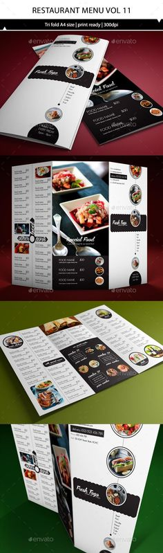 Restaurant Menu A4 Trifold Brochure Template