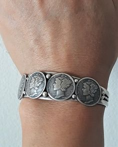 Mercury Dime Bracelet with Raw Turquoise or Red Natural Sea Coral, US Silver Coins and Silver Bullion Jewelry, Bad Ass Rare Coin Bracelet Funky Jewelry, Coin Jewelry, Jewelry Bracelets, Silver Cuff, Sterling Silver Bracelets, Us Silver Coins, Coin Bracelet, Silver Bullion, Silver Work