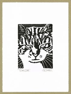 Tom Cat - Linocut Original hand-pulled Relief Print on Etsy, $33.25 AUD