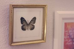 Adorable antique-looking butterfly frame