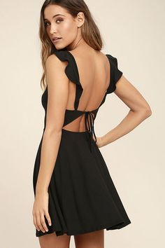 Lulus Exclusive! Marshmallows, ice cream, and candy can't beat the Sweeter Than Sugar Black Backless Skater Dress! Soft to the touch stretch knit falls from ruffled straps into a darted, sweetheart bodice. A single strap ties across an enticing open back, while a skater skirt flares below.