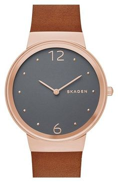 5de73a3e30 Skagen 'Freja' Leather Strap Watch, 34mm available at #Nordstrom スカーゲン, 木製