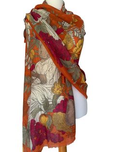 Beautiful large orange scarf by Powder with the Roman Rabbit print Excellent quality long wide and soft lightly feathered fringing to the ends Very Scarf Hanger, Prom Accessories, Cat Scarf, Pashmina Wrap, Orange Scarf, Free Uk, Burnt Orange, Different Styles, Clutch Bag