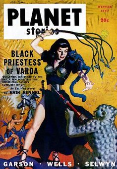 Vintage Sci Fi Poster Planet Stories Priestess of Varda