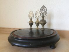 French Antique Round Glass Dome Base. by CRumpffCollectibles