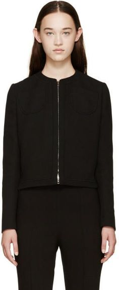Giambattista Valli Black Zip-Up Silk Jacket